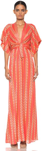 250e48c97e Issa Short Sleeve Maxi Kimono Dress in Coral in Pink (coral) - Lyst Light