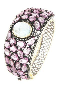 Pink Sapphire & Aqua Cabachon Diamond Bangle Bracelet - 2.17 ctw by Bansri on @HauteLook