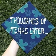"Spongebob squarepants graduation cap decoration thousands of tears later. Could do ""two years later"" or ""two degrees later"" Disney Graduation Cap, Graduation Cap Designs, Graduation Cap Decoration, High School Graduation, Graduate School, Graduation 2016, Nursing Graduation, Graduation Cards, Grad Hat"