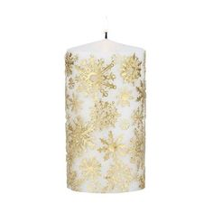 BH Pillar Wax Candle Snowflake In Gold (26 CAD) ❤ liked on Polyvore featuring home, home decor, fall home decor, gold home accessories, autumn home decor, gold home decor and christmas home decor