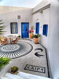mosaic welcoming guests, Milos, Greece