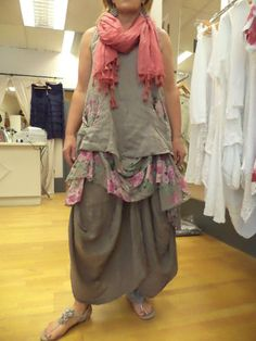 Mocha Linen Tunic by Diverse Lagenlook Quirky Layering Floral Print   eBay