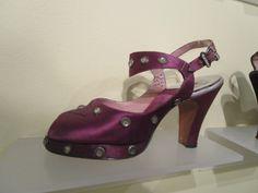 Purple satin and rhinestone sandal (Saks Fifth Avenue Fenton Footwear), American, c. 1940