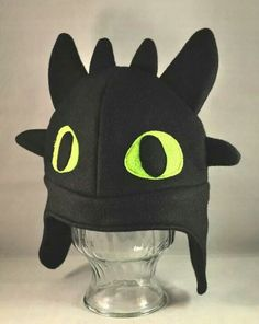 Toothless Dragon Black Fleece Hat Adult by TheCraftEGalShop, Sewing Hacks, Sewing Crafts, Sewing Projects, Toothless Dragon, Toothless Costume, Dragon Costume, Fleece Projects, Fleece Hats, Fleece Scarf