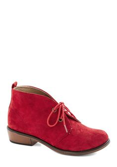 Tour Date Bootie in Red - Low, Faux Leather, Red, Solid, Menswear Inspired, Good, Lace Up, Variation