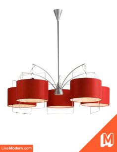 Passion Satin Nickel and Polished Chrome Chandelier with Shade (E22316-03). Get this for $578 + FREE SHIPPING. Click the image for more details or click here: http://www.likemodern.com/products/satin-nickel-5-arm-chandelier-with-red-drum-shades.html #chandeliers #modernlighting #homedecor