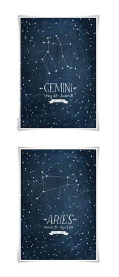 evajuliet zodiac prints