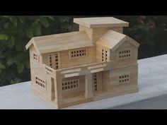 How to Make Popsicle Stick House - Popsicle House building - Dream House Pop Stick Craft, Stick Art, Craft Stick Crafts, Popsicle Stick Crafts House, Popsicle Sticks, Cardboard Crafts, Wooden Crafts, Cardboard Boxes, Casa Medieval Minecraft