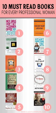 What I love about the list below is that each book is a little different and they range from important topics such as finding a job you love, starting a business, networking, getting out of debt and organizing your life. It's a little bit of everything!   http://www.classycareergirl.com/2013/02/10-must-read-books-for-every-young-professional-woman/