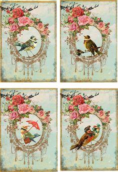 Vintage Inspired Bird Stationery Card Set 8 ATC Altered Art with Organza Bag | eBay