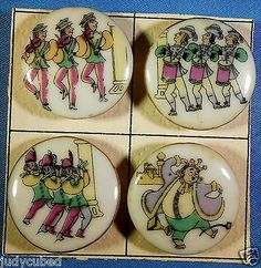 "SET 4 Nursery Rhymes Buttons ""King Cole"" 1950'S Ceramic 1 "" DIA 