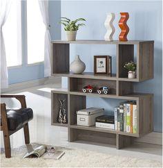 Amazon.com - Dark Taupe Finish Wood Cube Bookcase Bookshelf Display Cabinet -