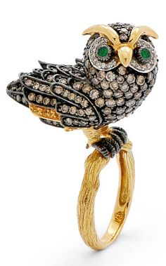 A Diamond and Gold Owl Ring