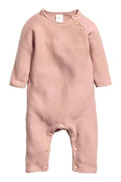 Knitted romper suit - Powder pink - Kids | H&M GB 1