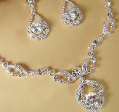 Clear Rhinestone Necklace & Earring Bridal Jewelry Set