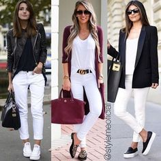Creating a style-statement outfit which provides you with an edgy, contemporary look as well as comfortable and practical themes is an ongoing challenge. Casual Winter Outfits, Classy Outfits, Chic Outfits, Spring Outfits, Fashion Outfits, Skirt Outfits, Womens Fashion, White Pants Outfit, White Jeans Winter Outfit