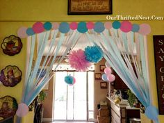 YES - I love the streamers pulled back! Gender Reveal Party: Pink and Blue Gender Reveal Streamer Decorations Baby Gender Reveal Party, Gender Party, Streamer Decorations, Baby Shower Decorations, Streamer Ideas, Shower Party, Baby Shower Parties, Moldes Para Baby Shower, Gender Reveal Decorations