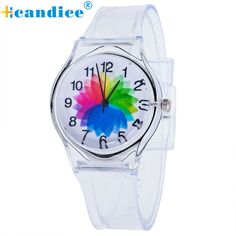 Korean Style Transparent Kids Watches. Item Type: Quartz WristwatchesCase Shape: RoundGender: WomenStyle: Fashion & CasualBrand Name: HcandiceClasp Type: BuckleCase Material: Stainless SteelBand Width: 20 mmBoxes & Cases Material: No packageMovement: QuartzCase Thickness: 7 mmFeature: Auto Date,NoneBand Material Type: SiliconeWater Resistance Depth: No waterproofBand Length: 22 inchDial Diameter: 39 mmModel Number: D6liDial Window Material Type: Glass