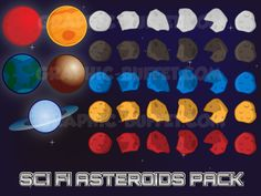 Asteroids 2D Assets Pack | Space Shooter Game Graphics | space assets