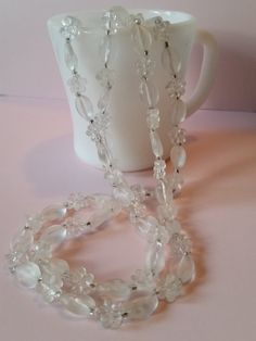 """Extra Long 50"""" Vintage Necklace - Clear Flower Beads 