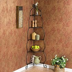 @Overstock - Cute black corner etagere is a wonderful addition to your homeKitchen furniture features beautiful five useful storage shelvesShelves have a corner design ideal for making use of wasted space without being large and cumbersomehttp://www.overstock.com/Home-Garden/Scrolled-Black-Corner-Etagere/4402204/product.html?CID=214117 $63.54