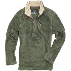 Pebble Pile Pullover 1/2 Zip in Vintage Olive by True Grit  - 1