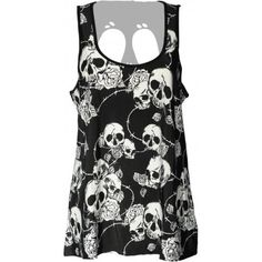 A black and white skull and roses printed strap top for women, by goth clothes brand Banned, with skull cut-out detail in the back.