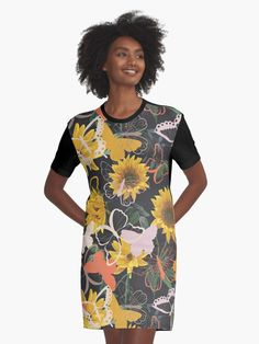 Butterflies and Flowers.  Beautiful floral design with butterflies and flowers.  Yellow flowers are pretty among the green leaves.  #butterflies #butterfly #insects #flower #flowers #floral #garden #giftideas #fashion #onlineshopping #artsandcrafts #redbubble #art #redbubblecommunity #redbubbleshop #ad #findyourthing @redbubble @giftsbyminuet I Dress, Shirt Dress, T Shirt, Vintage Pattern Design, Trendy Outfits, Trendy Clothing, Yellow Dress, Chiffon Tops, Cold Shoulder Dress