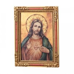 There is a reverent beauty that exudes from this icon. Richly colored and lovingly designed, it presents an image of Our Lord and His Sacred Heart. This is a wo 114825 Catholic Gifts, Catholic Art, Catholic Company, Sign Of The Cross, Religious Books, Heart Of Jesus, Heart Images, Sacred Heart, Wall Plaques