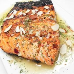 Lemon Dill Salmon with Garlic, White Wine, and Butter Sauce ...