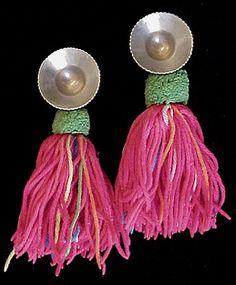 Old Thai Karen Hilltribe Silver Earplugs with Tassels