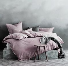 AmazonSmile: Washed Cotton Chambray Duvet Cover Solid Color Casual Modern Style Bedding Set Relaxed Soft Feel Natural Wrinkled Look (King, Mauve Lilac): Home & Kitchen