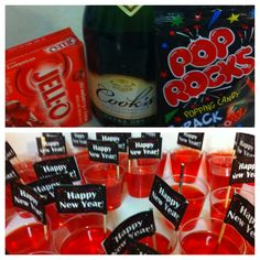 Champagne Jell-O shots for New Years Eve.Put the Pop Rocks on right before you serve Champagne Jell-O shots for New Years Eve.Put the Pop Rocks on right before you serve New Years Eve Menu, New Year Menu, New Years Eve Drinks, New Year's Drinks, New Years Eve 2017, New Year's Eve Cocktails, Holiday Cocktails, New Years Party, Party Drinks