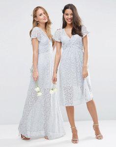 ASOS | ASOS WEDDING Lace Wrap Tie Maxi Dress at ASOS
