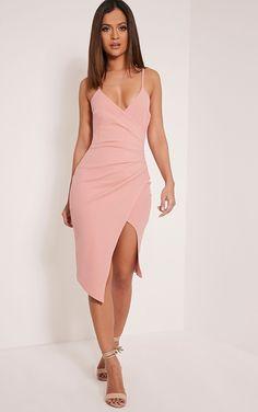Dámské světle růžové  šaty s rozparkem