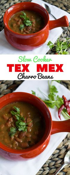 """Tex Mex Charro Beans. The easiest """"set-and-forget"""" slow cooker dish..."""