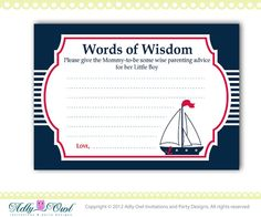 Words of Wisdom Nautical Baby Shower by adlyowlinvitations on Etsy, $5.00