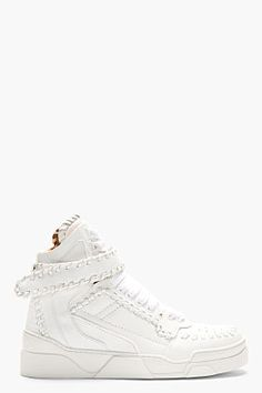 Givenchy White Leather Baseball Stitch High-top Sneakers for men | SSENSE
