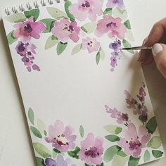 Nice watercolor flowers inspiration for bullet journal