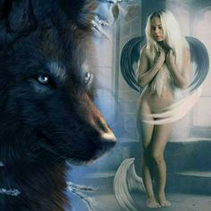 Yes Sir please Native American Beauty, American Indian Art, Wolves And Women, Fantasy Wolf, Angel Drawing, Wolf Love, Wolf Pictures, Wolf Spirit, Beautiful Fantasy Art