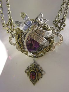 Amethyst Dragonfly Steampunk Necklace #jewelry #art @Dreia Melinkoff: this really looks like something you would like