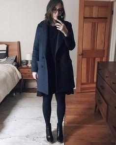 Handmade coat & Farrow dress today! Kind of forgot how annoying tights are though handmadewardrobe,grainlinestudio,sewing,handmade,farrowdressjen_beeman