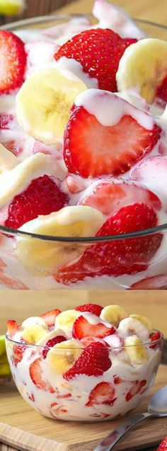 This Strawberry Banana Cheesecake Salad from The Slow Roasted Italian is a fluffy fruit salad that everyone will love! With the fresh strawberries and bananas tossed in the cheesecake cream pudding mix, everyone will be piling it on their plates!