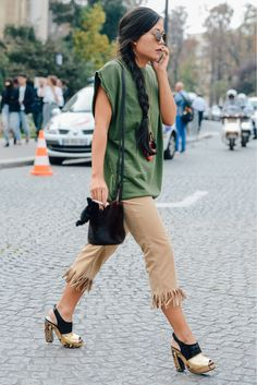 TRIM TO WIDEN AND FRINGE BOTTOM OF CHINO CAPRI Oui, Oui! Tommy Ton's in Paris - Gallery Slide 1