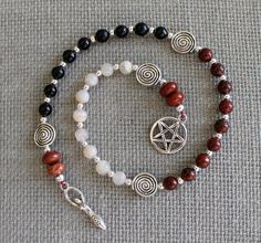 Pentacle, Triple Goddess, Pagan Prayer Beads, Spiral Goddess, Meditation Beads, Wiccan Prayer Beads