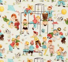 Michael Miller vintage fabric children playground