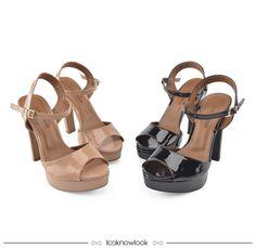 Sandália envernizada nas cores nude e preta #shoes #sotd #sandálias #calçados #moda #look #tendência #trend #outfit #looknowlook