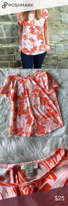 NWOT J.Crew Printed Petal-Sleeve Top This top is in perfect condition!  Size 6  Pit to pit is approx 20 inches  Length is approx 25 inches  Smoke and pet free home! No flaws like stains or holes! No modeling No trades! J. Crew Tops Blouses