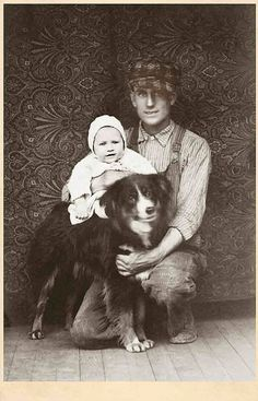 +~+~ Antique Photograph ~+~+  Three pals, even the dog is smiling!