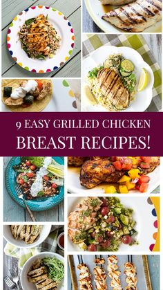 Browse our collection of our 9 Easy Grilled Chicken Breast Recipes!  Everything from chicken skewers, to chicken tacos to chicken with amazing salsas and relishes!  This is easy weeknight grilling at it's finest!  Though, you'll want to grill these on weekends too! Grilled Fruit, Grilled Beef, Grilled Vegetables, Grilled Chicken Breast Recipes, Best Chicken Recipes, Chicken Skewers, Chicken Tacos, Roasted Chicken, Baked Chicken